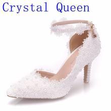 5d962502 Kryształ Królowa Biały Koronki Kwiat Ślub Buty Slip On Pointed Toe Buty  Ślubne Szpilki Kobiety Pompy