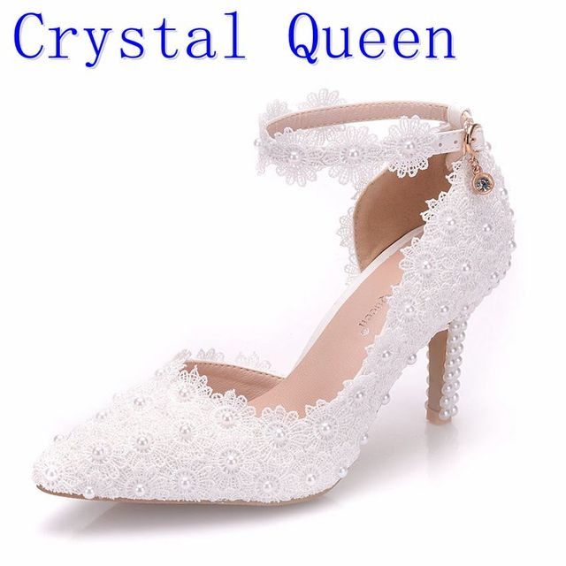 Crystal Queen White Lace Flower Wedding Shoes Slip On Pointed Toe Bridal  Shoes High Heel Women Pumps Shallow Pointed Toe 8Cm 16aa882eacf6