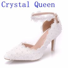 Crystal Queen White Lace Flower Wedding Shoes Slip On Pointed Toe Bridal