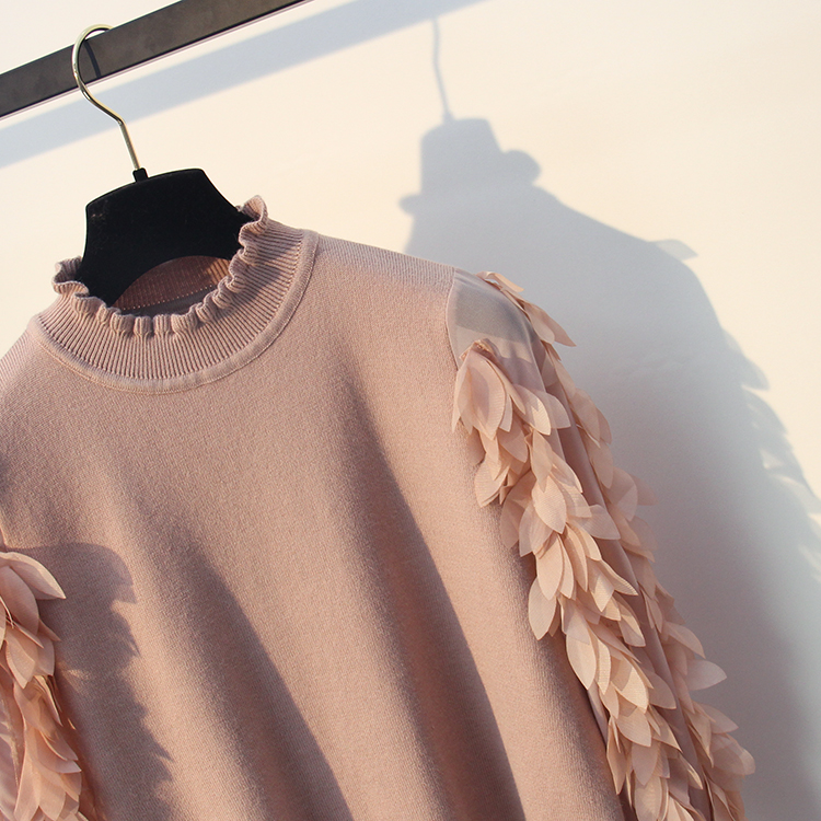 HLBCBG Ruffled Collar Knitted Women Sweater Spring Autumn Loose Jumper Fashion Flowers Sleeves Sweater and Pullover Femme Pull 14