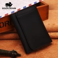 BISON DENIM Glossy Genuine Leather Men Wallet Fashion Men S Purses Card Holder Coins Wallet Purses