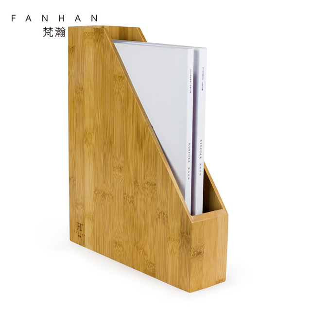 FANHAN Desk A4 File Organizer Bamboo Wood A5 File Box Storage Holder For  Document Folders Office
