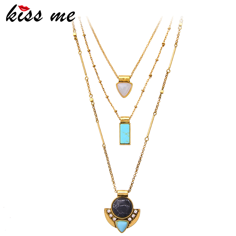 KISS ME Brand Synthetic Stone Necklaces& Pendants Fashion Jewelry Multi Layers Necklaces for Women luna chiao fashion ins popular round natural stone fan fringed cotton tassel necklaces pendants for women