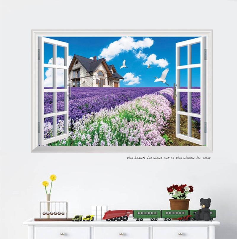 New coming 3d window lavender garden wall sticker kids for 3d garden decoration