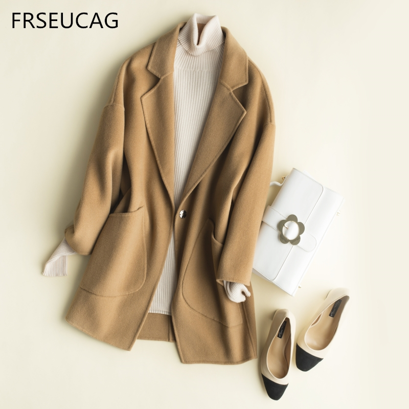 FRSEUCAG Winter new hot women's wool coat jacket knit cardigan solid color casual cashmere double-sided jacket Fashion high-end
