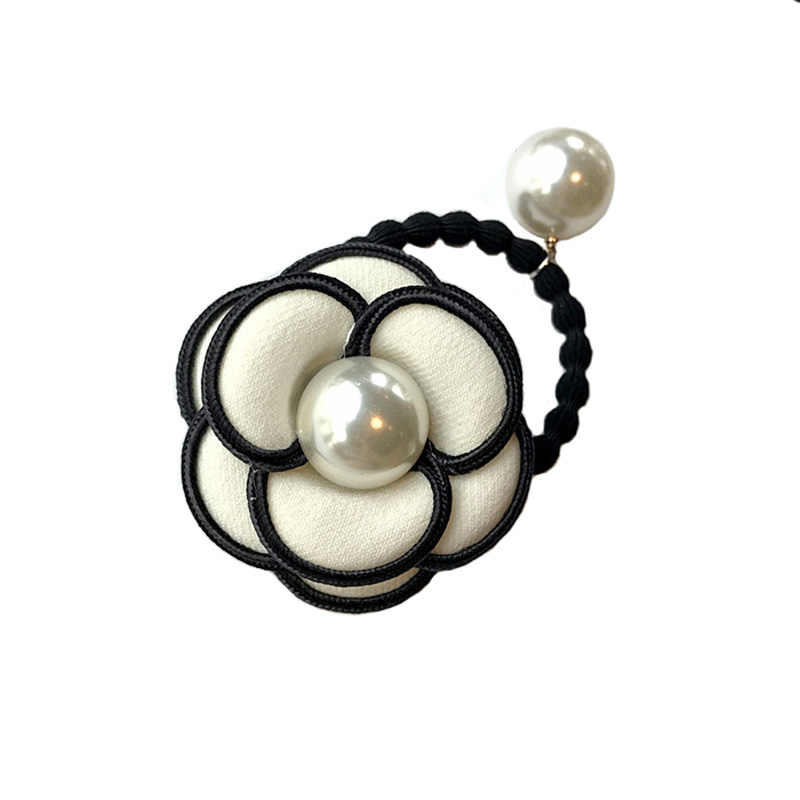 Women camellia hair accessories chic black white flower fabric hair ring/rope fashion pearl elastic hair bands rubber band ties