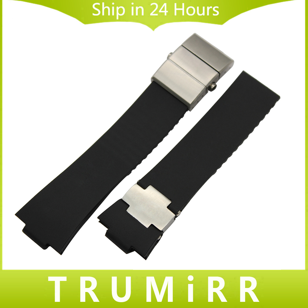 Rubber Watchband 25 x 12mm for UN 263 Marine 1183 Observatory Blue Seal Watch Band Steel Butterfly Clasp Wrist Strap Black Blue soft rubber watchband 26mm for executive 243 men replacement silicone watch band steel butterfly buckle wrist strap black blue