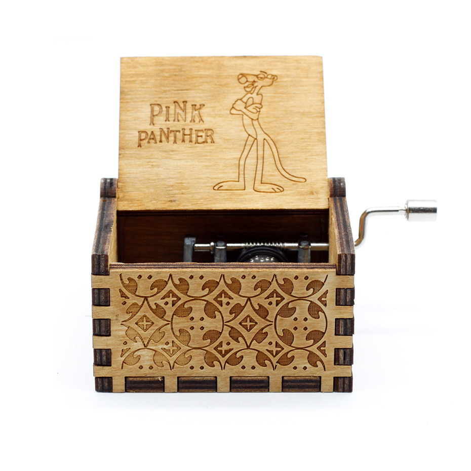 New Carved Queen Music Box Star Wars Game of Throne Castle In The Sky Hand Cranked Wood Music Box Christmas Gift - Цвет: Pinks Panther