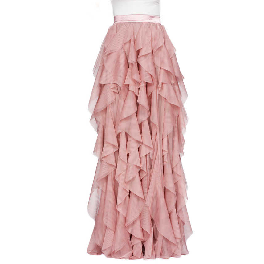 6d252576c1e1b Layered Ruffles Skirt Ribbon Waistline A Line Floor Length Full Maxi Skirt  Customized Soft Tiered Thick Tulle Skirts Adults