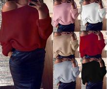 2019 new Women casual 7 colors Long-sleeved sweater coat sexy loose summer Tops plus size Off Shoulder Female Blouse