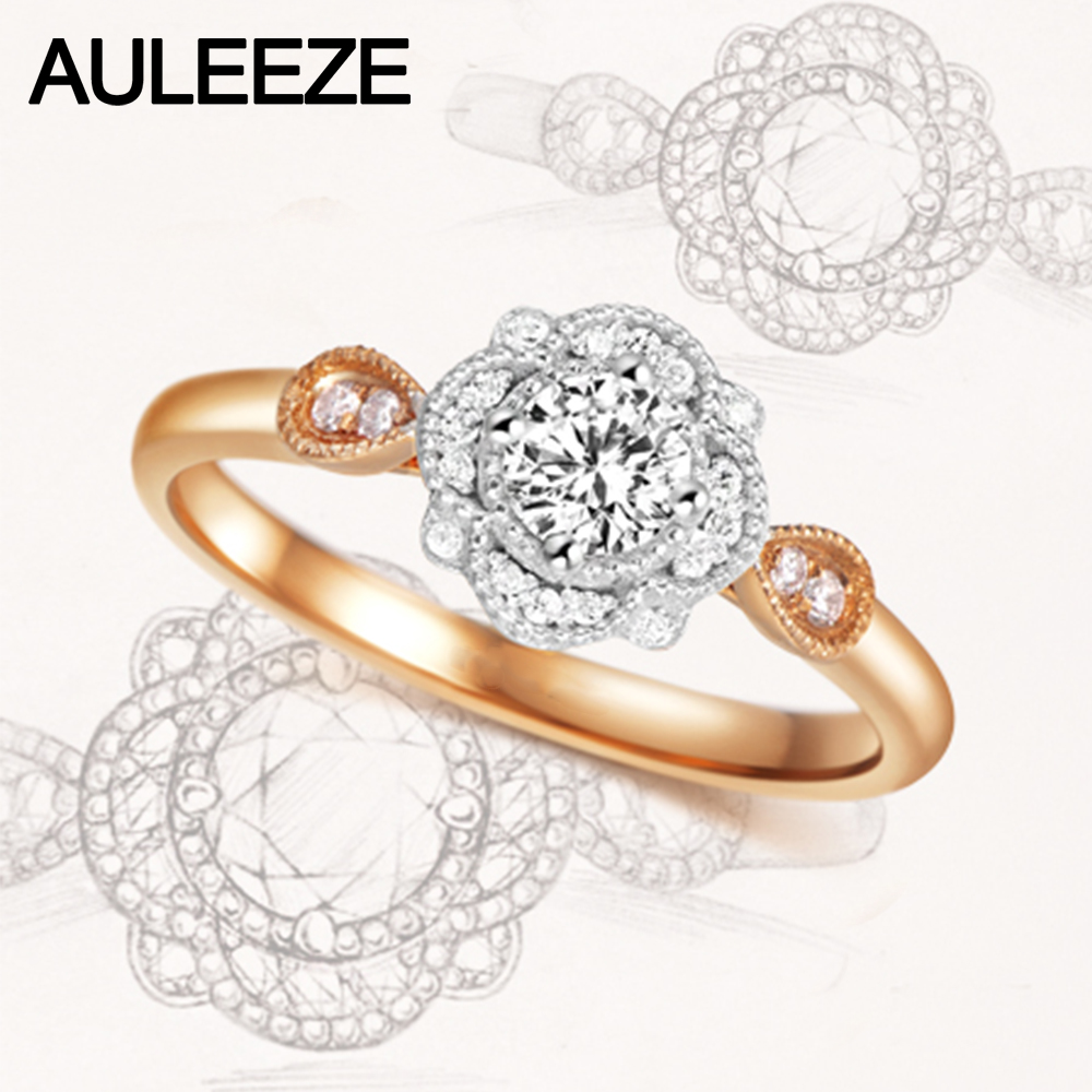 Flower 0.3ct Moissanite Ring 925 Sterling Silver Lady Ring Halo ...