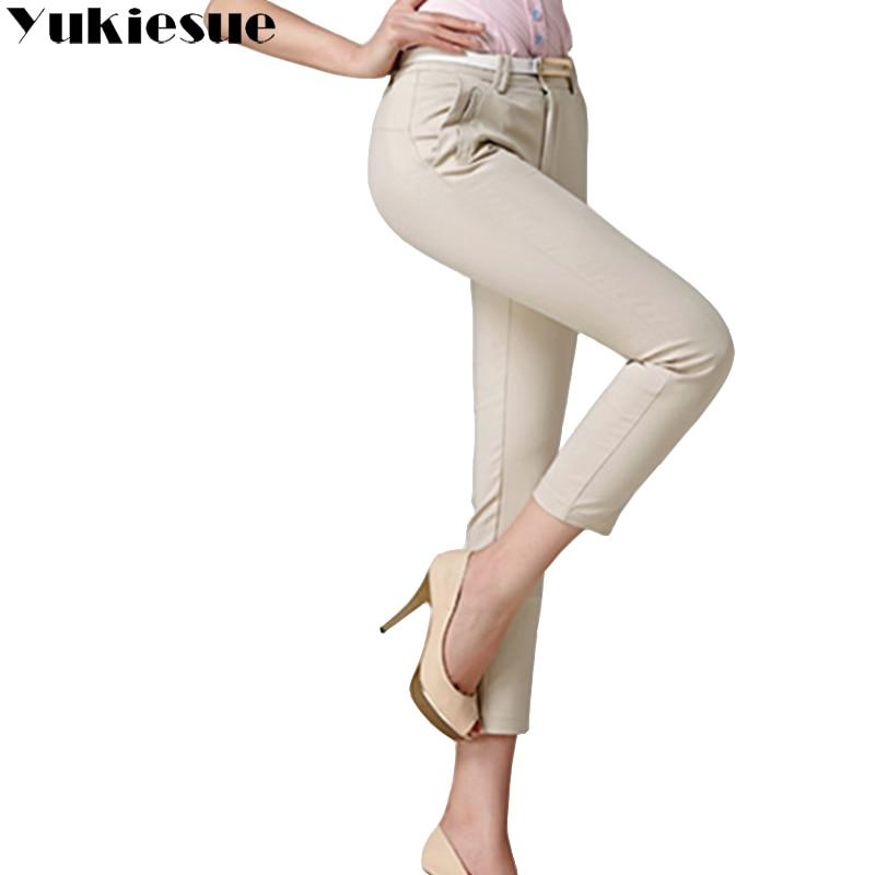 Pencil pants capri women high waist OL office work wear formal skinny pants pantalon femme