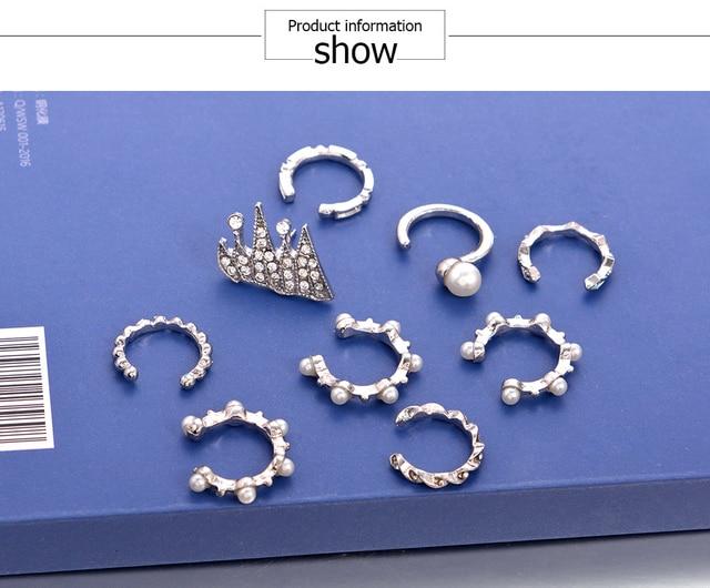 9pcs set Punk Simulated Pearl Crystal Clip Earrings for Women Bohemian Silver Color Ear Cuff Brincos.jpg 640x640 - 9pcs/set Punk Simulated Pearl Crystal Clip Earrings for Women Bohemian Silver Color Ear Cuff Brincos Fashion Geometry Jewelry