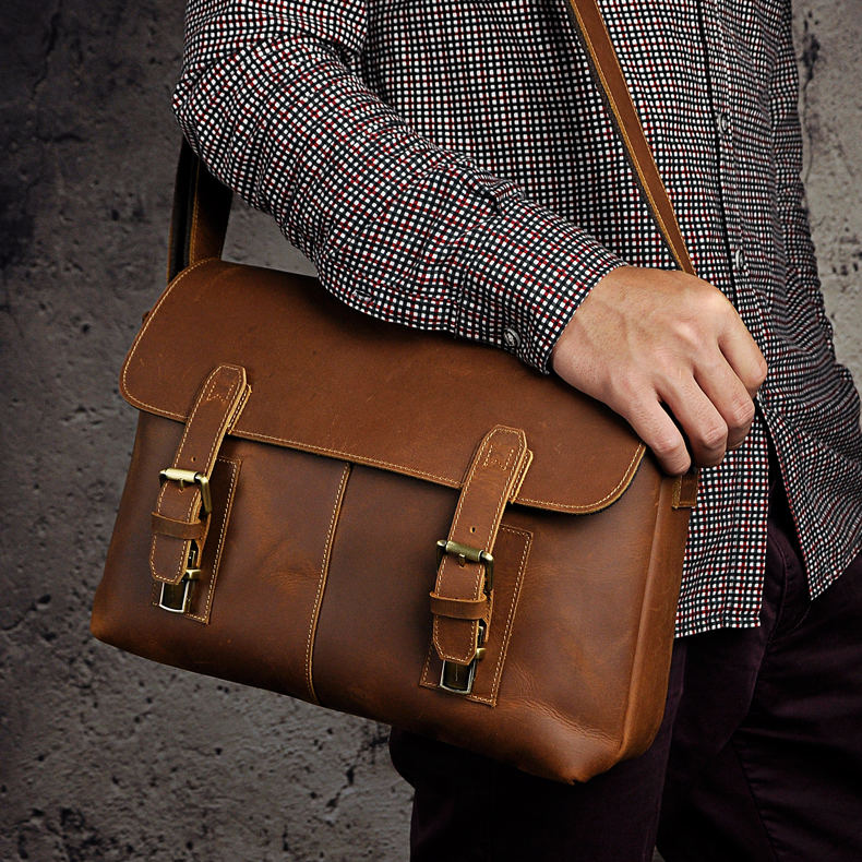 3 first layer of cowhide genuine leather crazy horse leather male one shoulder cross-body 13 laptop bag 2761 genuine leather women s handbag one shoulder cross body small bags women s brief first layer of cowhide leather messenger bag