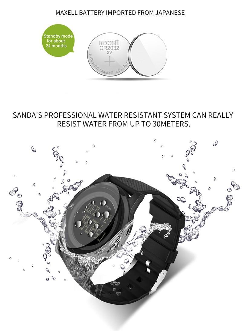 2018 Sanda Brand Sport Watch Men Luxury Electronic LED Digital Wrist Watches For Men Male 9mm Super Slim Clock Relogio Masculi 10