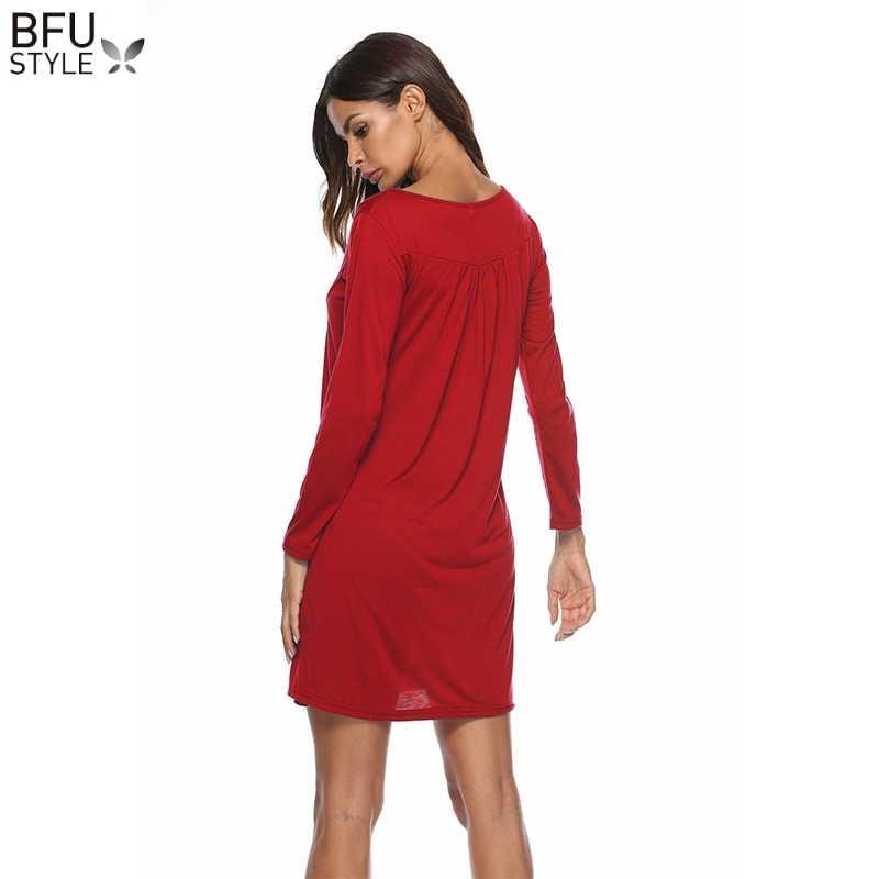 Футболка с длинным рукавом платье для женщин осень зима Кнопка Повседневная Базовая рубашка платья сексуальные женские черные красные синие вечерние платья Украина Vestidos