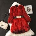 Fashion warm natural raccoon dog fur winter coat outerwear women O neck 3/4 sleeve real fur jackets and coats 2017 new autumn
