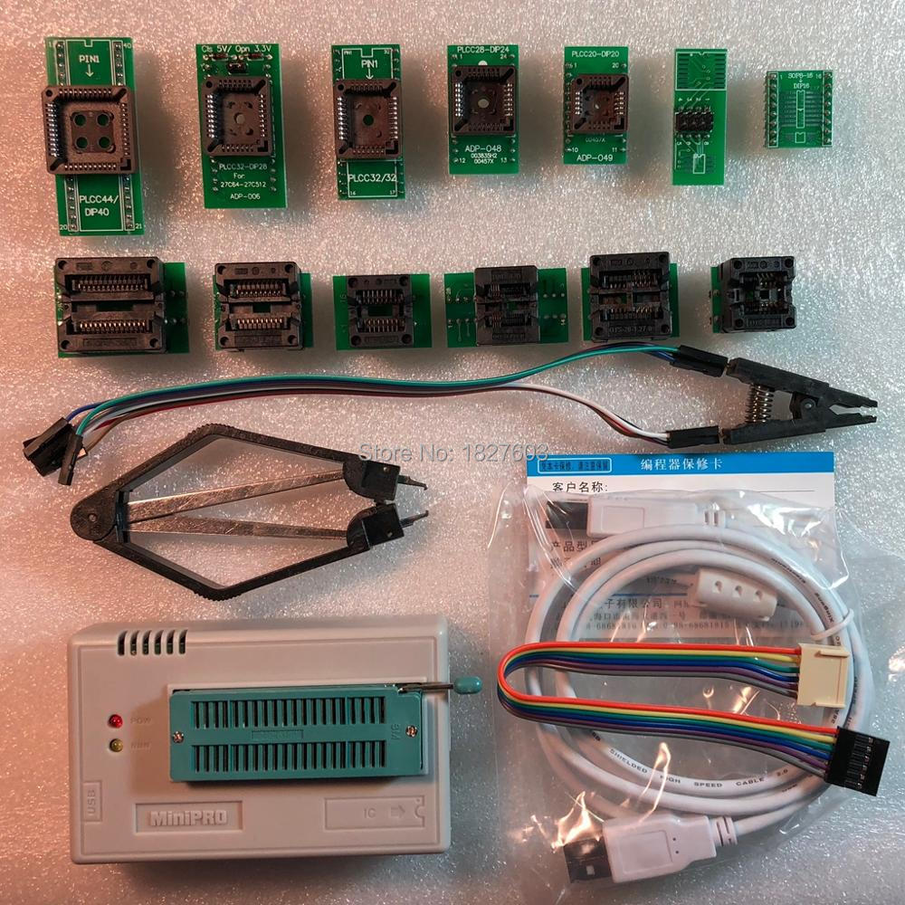 V7.05 XGecu TL866II Plus USB Programmer support15000 IC + 13PCS Adapter+SOP8 Testclip SPI NAND EEPROM MCU PIC AVR replace TL866A