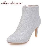 Meotina/женские ботильоны теплые зимние ботинки на молнии женские тонкий высокий каблук Сапоги и ботинки для девочек Обувь Bling пикантные туфли ...