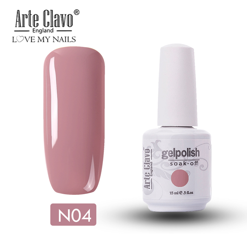 Arte Clavo 15 ml UV Gel Nail Polishl Nude Color Series Hybrid Nails Lacquer UV Led Nail Gel Soak Off Nail Art Gellak Gel Varnish 4