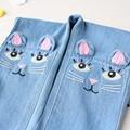 Новый 2017 Весна девушки стерео кошка джинсы для девочки дети рваные джинсы модные джинсы для подростков девочка джинсы 3-8Y