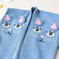 New 2017 Spring girls stereo cat jeans for girl kids ripped jeans fashion jeans for teenagers baby girl denim jeans 3-8Y