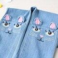 Novo 2017 Primavera meninas estéreo gato calça jeans para crianças menina baby girl jeans rasgado jeans jeans da moda para adolescentes 3-8A