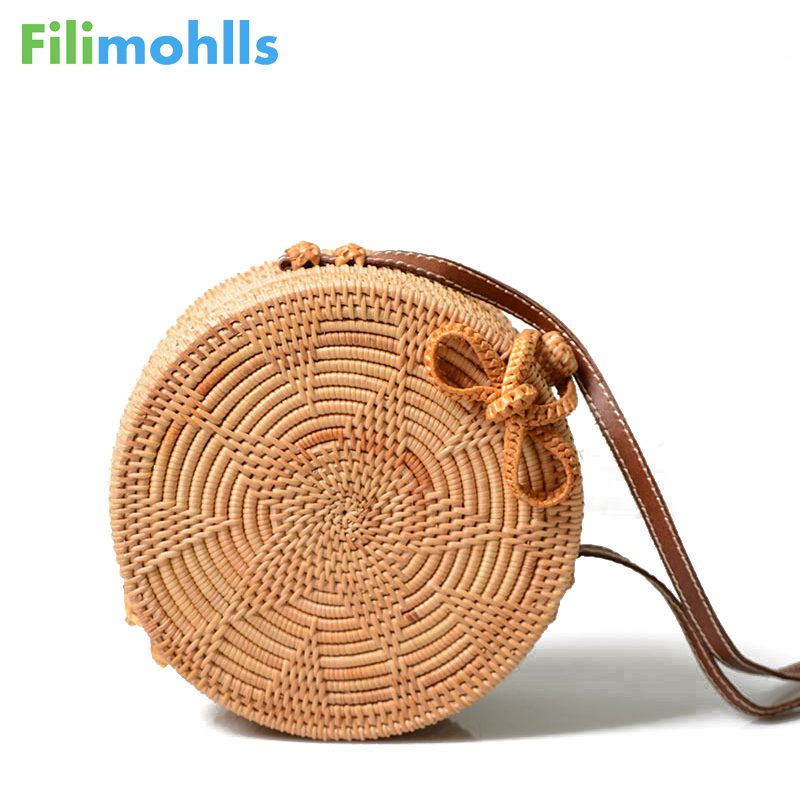 Female Summer Rattan Bag Handmade Woven Shoulder Bags Ladies Casual Beach Handbags Straw New Women Round Straw Handbag S1569 цены