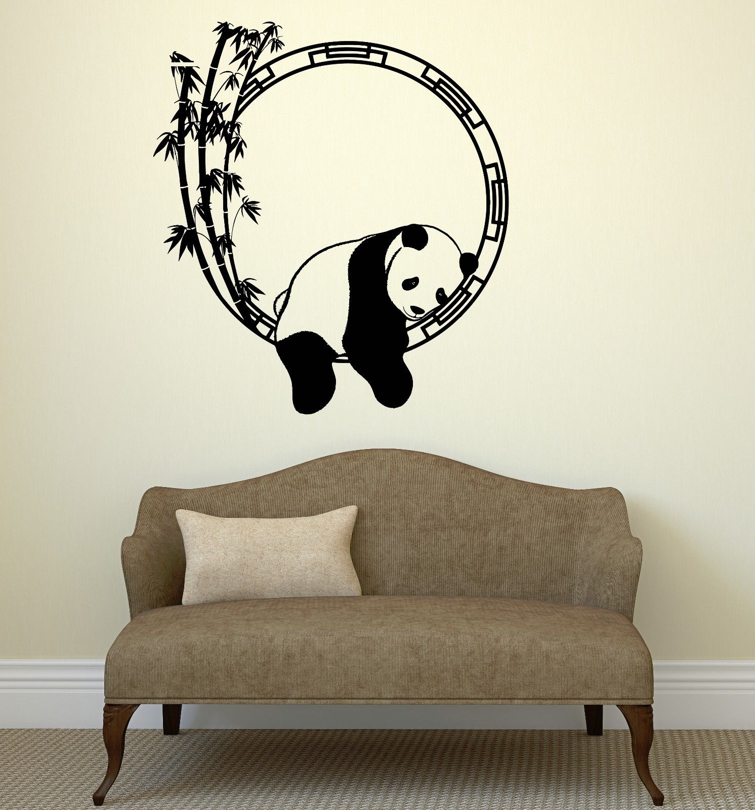 Hwhd animals wall decal funny animal panda bamboo japanese for Stickers pared baratos