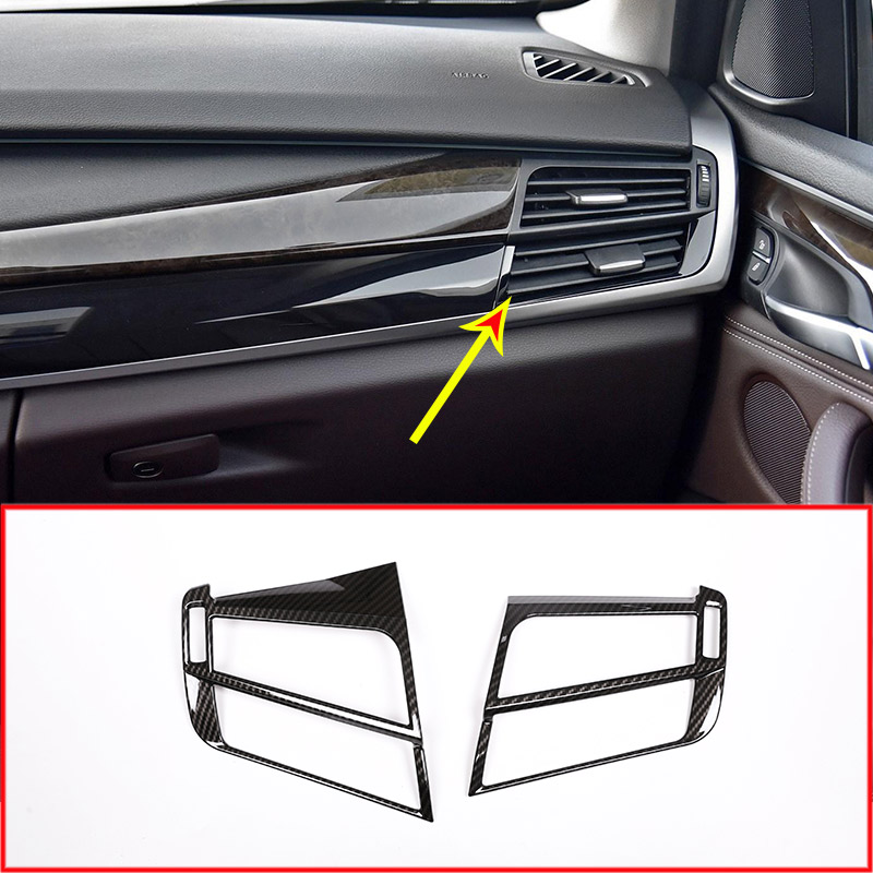 цена на Carbon Fiber Style Side Air Conditioning AC Outlet Vent Cover For BMW X5 f15 X6 F16 2014-2017 Car Accessories