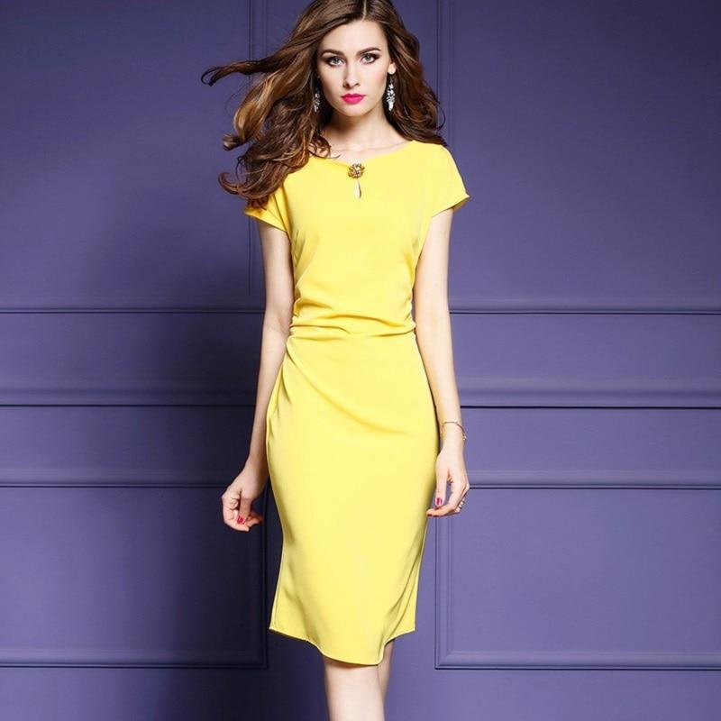 2017 nueva primavera verano Delgado trabajo de lujo vestido amarillo ...