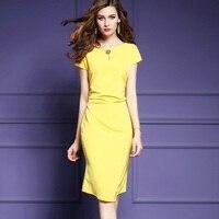 2017 NEW Spring Summer Slim Luxury Work Dress Yellow Women Clothing Pencil Party Dress S XXXL