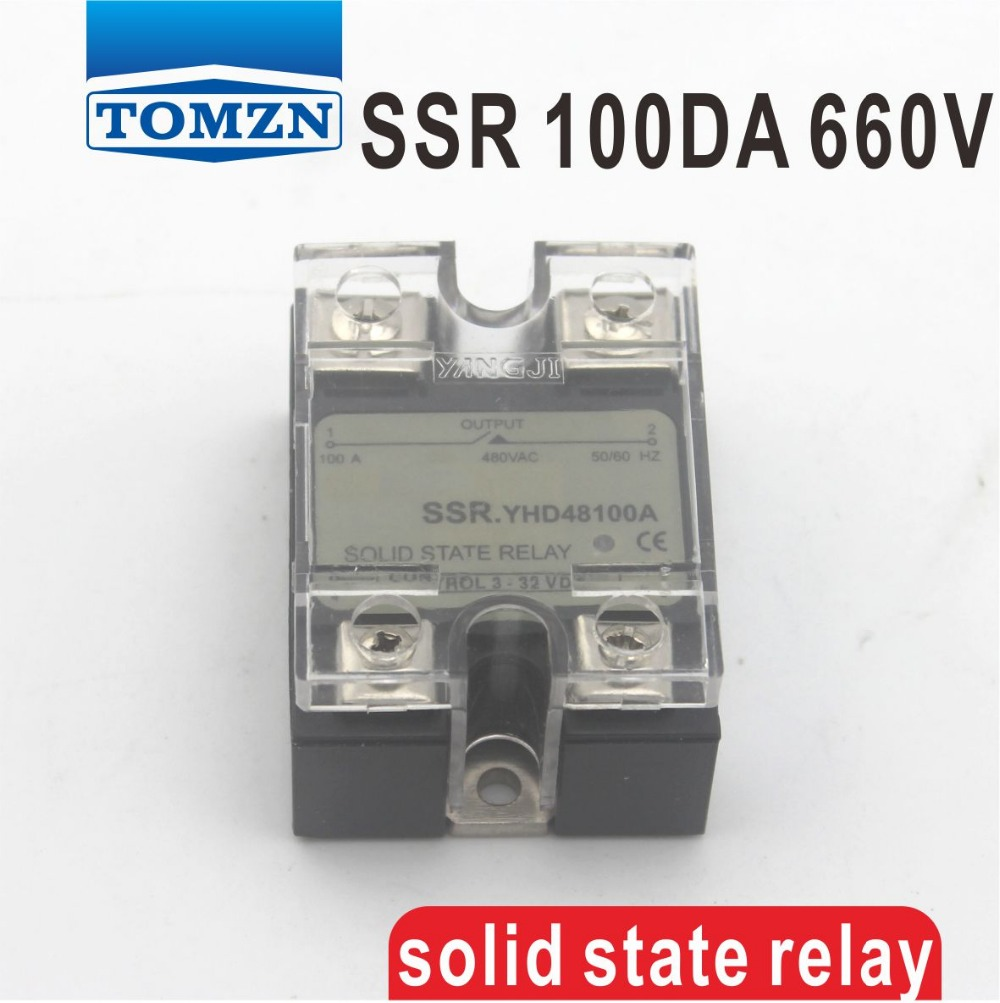 цена на 100DA SSR Control 3-32V DC output 48~660VAC High voltage single phase AC solid state relay