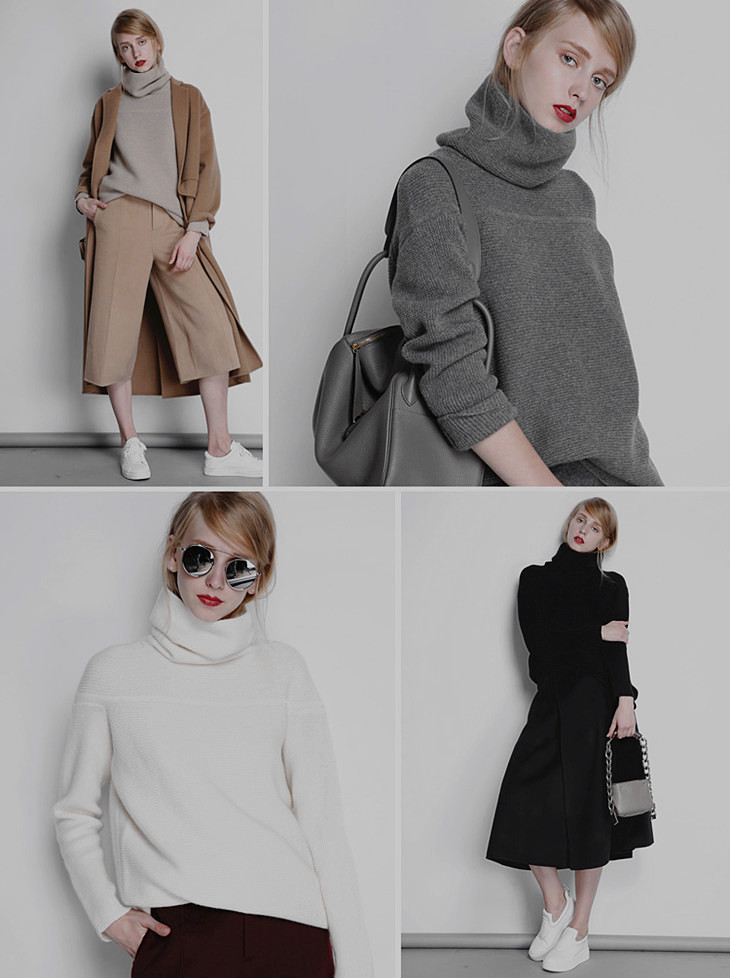 BELIARST New Autumn and Winter Cashmere Sweater Women's High Collar Thick Solid Color Sweater Loose Knit Sweater Wild Pullover 2