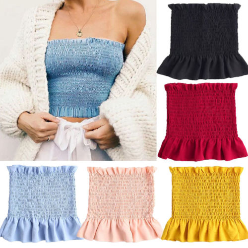 Sexy Summer Fashion Women Cotton Tank Bustier Bra Crop Tube Tops Bralette t shirt