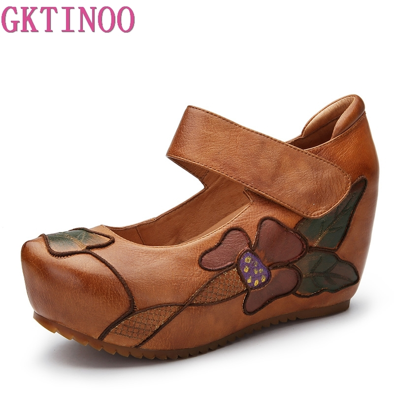 GKTINOO Women Pumps Genuine Leather Handmade Embroider Flower Height Increasing Ladies Vintage Shoes Mary Janes High