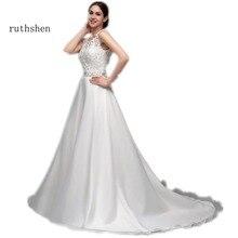Ruthshen A Line رخيصة فساتين زفاف دانتيل الأورجانزا الترتر مطرز بدون ظهر Vestido Novia 2018 مثير Vestido De Noiva Renda