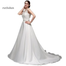 Ruthshen linia tanie sukienki ślubne koronki Organza cekiny z koralikami bez pleców Vestido Novia 2018 Sexy Vestido De Noiva Renda