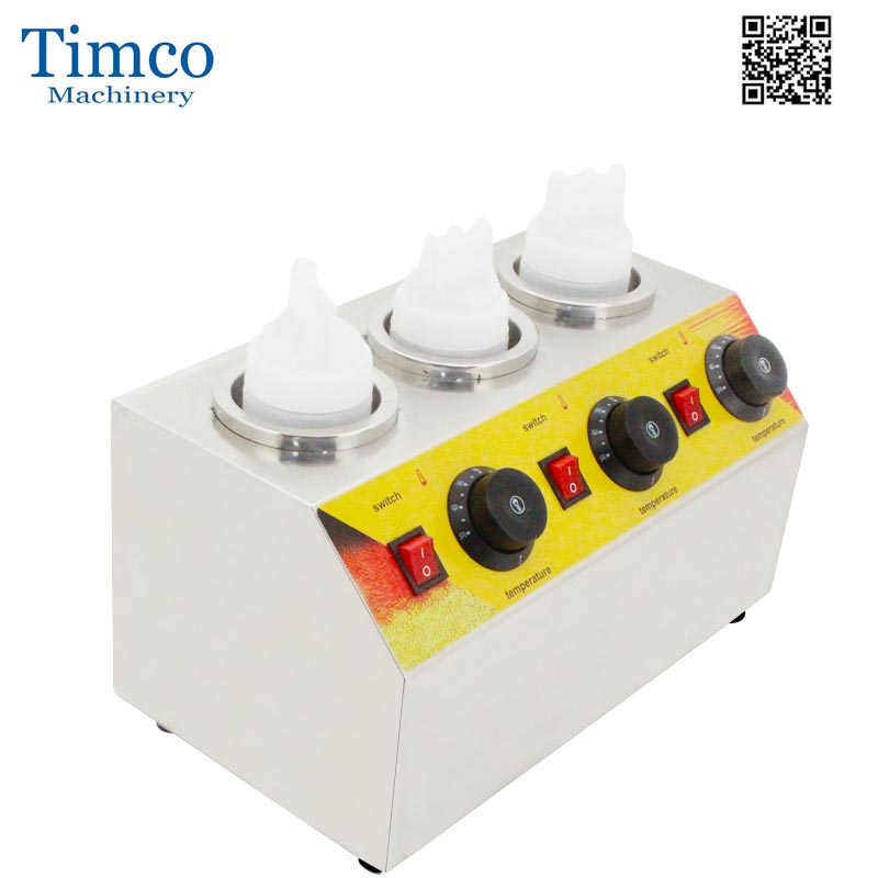 Chocolate Heater Sauce Warmer Electric Stainless Steel 3 Bottles Soy Heater Filling Machine