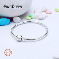 FirstQueen 925 Sterling Silver Iconic Silver Charm Bracelet Fit 4 3mm Charms Beads Anniversary DIY Gift