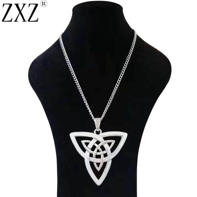 """Large Silver Statement Abstract Metal Celtics Knot Trinity Triquetra Pendant on Long Curb Chain Necklace Lagenlook 34"""""""