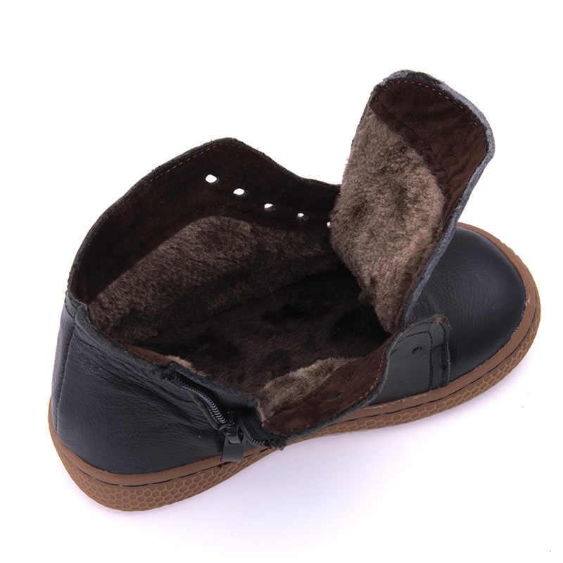Pekny Bosa Merk Kinderen Peuter Snowboots Meisjes Jongens Winter Laarzen Pluche Kids Schoenen Echt Leer Matte Zwarte Laarzen Sneakers