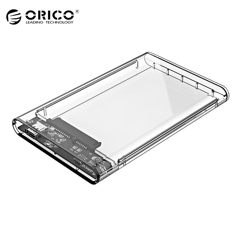 ORICO 2.5 inch Transparent HDD Case USB3.0 to Sata 3.0 Tool Free 5 Gbps Support UASP Protocol Hard Drive Enclosure - (2139U3) orico 2578u3 2 5 inch ssd case usb3 0 micro b external hard drive disk enclosure high speed case for 7mm support uasp sata iii