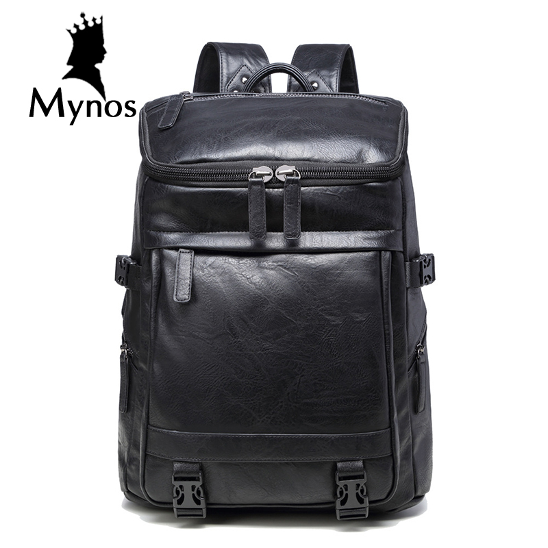 ФОТО MYNOS New Brand Casual Leather Backpack Men Waterproof Laptop Bag Travel Large Capacity Notebook Multifucntion Backpack Male