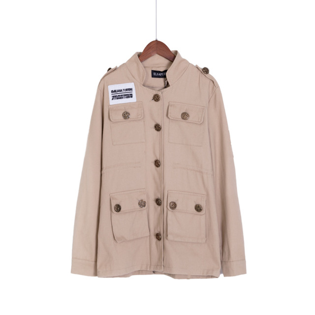 SM L Spring Autumn Women Embroidery Military Army Green Jacket Drawstring Patchwork Foldable Coat casacos femininos C47001