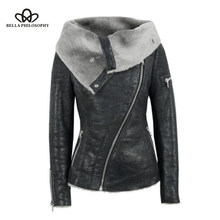 Bella Philosophy Goth Black PU Leather White Faux Fur Fleece Skinny Jacket Coat Women Winter Vintage Punk Motorcycle Outerwear(China)