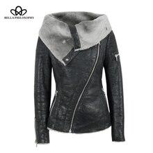Jacket Coat Faux-Fur Goth Outerwear Motorcycle Vintage Black White Winter Women Punk