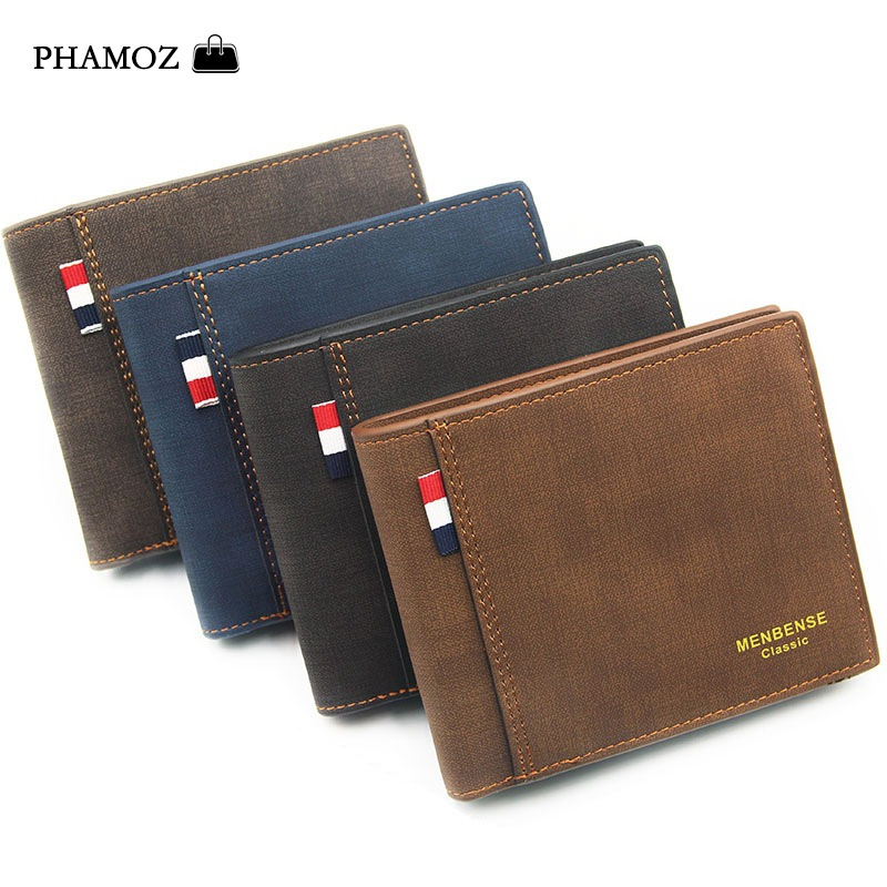 PHAMOZ Luxury Purse Thin Short  Mens Mini  Money Slim Cute Leather Small Wallet  High Quality,Men Wallets