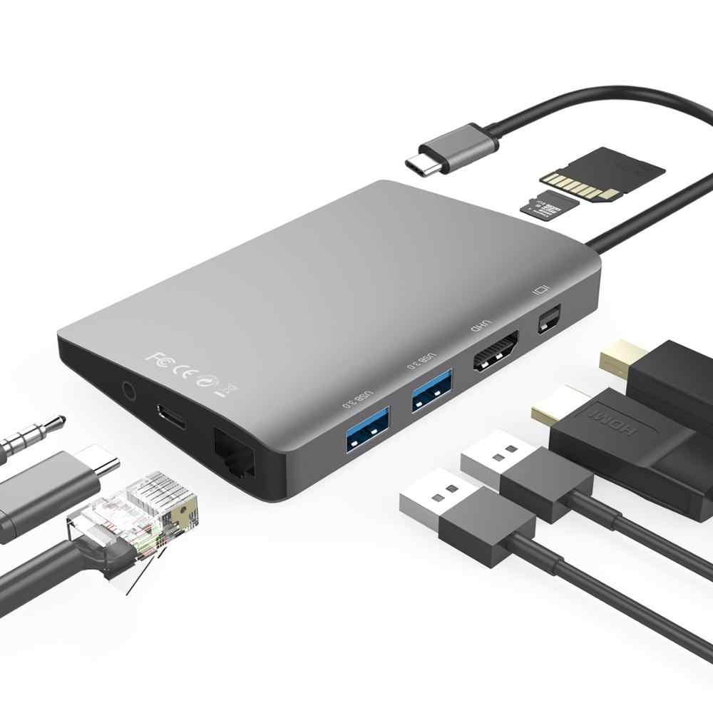 Amkle 9 في 1 USB3.1 Hub متعددة الوظائف USB-C محور مع نوع C 4K فيديو HDMI جيجابت إيثرنت محول USB 3.0 USB C نوع C Hub