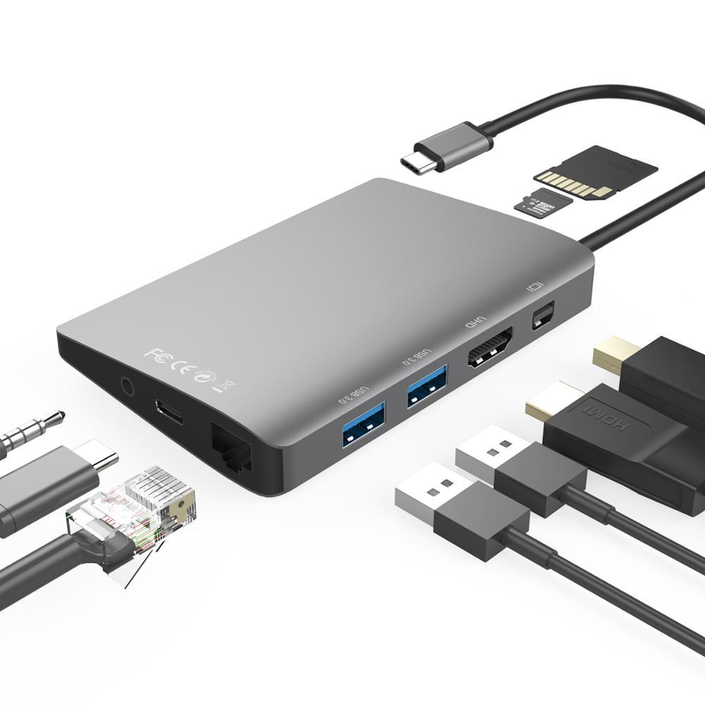 Moyeu de USB-C multifonction Amkle 9 en 1 USB3.1 Hub avec adaptateur HDMI Gigabit Ethernet vidéo type-c 4K USB 3.0 USB C moyeu de Type C